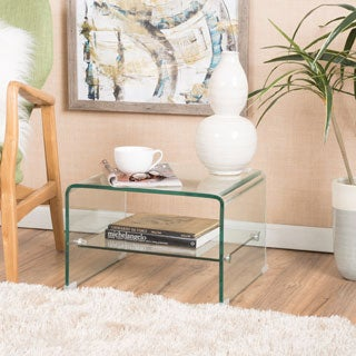 Christopher Knight Home Ramona Transparent Glass End Table with Shelf