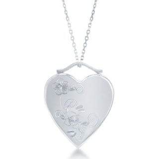 La Preciosa Sterling Silver Floral Heart with High-Polish Locket