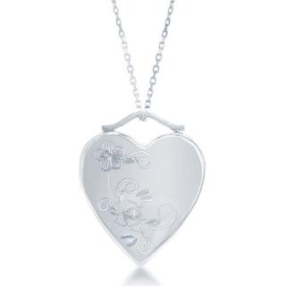 La Preciosa Sterling Silver Floral Heart with High-Polish Locket