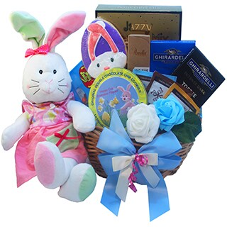 Miss Mimsy's Easter Bunny Gift Basket with Chocolate