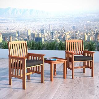 CorLiving Cinnamon Brown Hardwood 3pc Patio Chair and Table Set