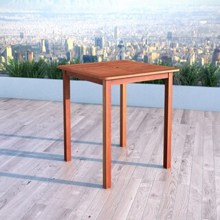 Havenside Home Goodwin Cinnamon Brown Hardwood Outdoor Bar Height Table