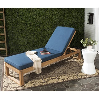 Safavieh Solano Outdoor Teak Brown/ Navy Sunlounger