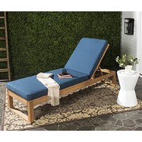 Deluxe Teak Chaise Lounge with Tray - Free Shipping Today ... on Safavieh Outdoor Living Solano Sunlounger id=27075