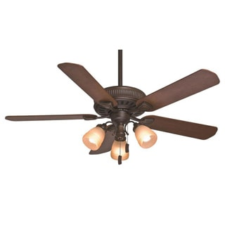 Casablanca Fan Ainsworth Gallery 54-inch Onyx Bengal with 5 Distressed Walnut/Dark Walnut Reversible Blades