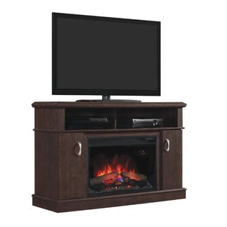 Dwell TV Stand  with 26-inch Electric Fireplace - Midnight Cherry