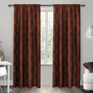 ATI Home Como Embroidered Rod Pocket Window Curtain Panel Pair - N/A