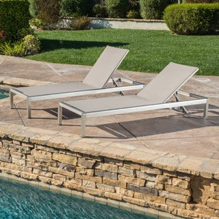 Christopher Knight Home Cape Coral Outdoor Aluminum Adjustable Chaise Lounge (Set of 2)