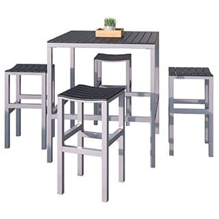 CorLiving Nantucket 5pc Aluminum and Black Outdoor Bar Height Bistro Set