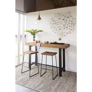 Aurelle Home Rustic Industrial Bar Table