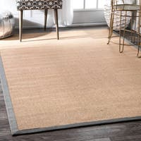 Handmade Alexa Eco Natural Fiber Cotton Border Grey Jute Rug (9' x 12') - 9' x 12'