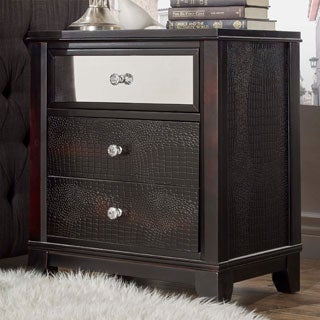 Jazlyn 3-drawer Croc Faux Mirrored Accent End Table