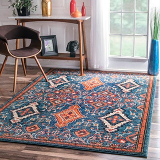 nuLOOM Traditional Ornamental Diamonds Multi Rug (7'10 x 11')