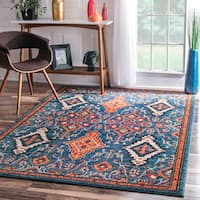 nuLOOM Traditional Ornamental Diamonds Multi Rug (7'10 x 11') - 7'10 x 11'