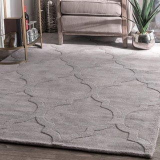nuLOOM Handmade Abstract Raised Trellis Wool Grey Rug (9'6 x 13'6)