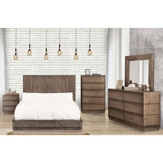 Furniture Of America Remings Rustic 4 Piece Natural Tone Low Profile Bedroom Set