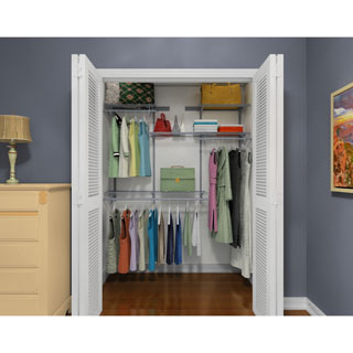 ClosetMaid ShelfTrack 4ft to 6ft Closet Organizer Kit, Satin Chrome