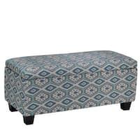 Cortesi Home Yarka Storage Ottoman in Linen, Ikat Pattern