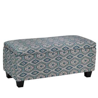 Cortesi Home Yarka Storage Ottoman In Linen Ikat Pattern