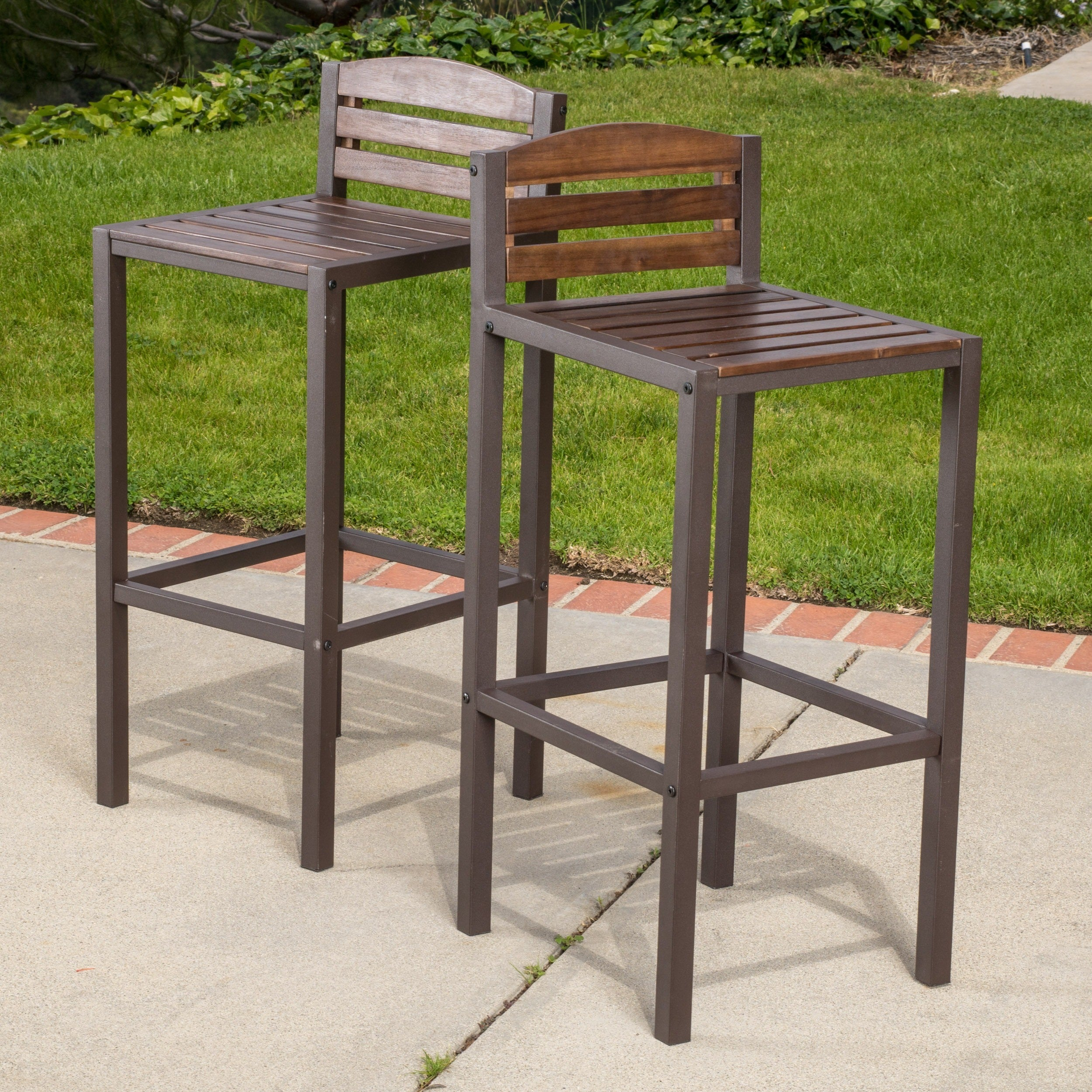 Milos Outdoor Acacia Wood Barstool (Set of 2) by Christopher Knight Home & Denali Outdoor Industrial Wood Barstool (Set of 2) by Christopher ...
