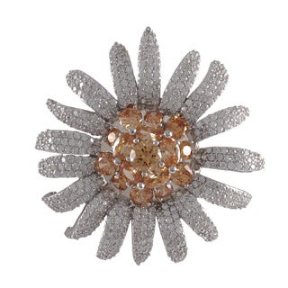 Luxiro Sterling Silver Champagne Cubic Zirconia Flower Pin Brooch