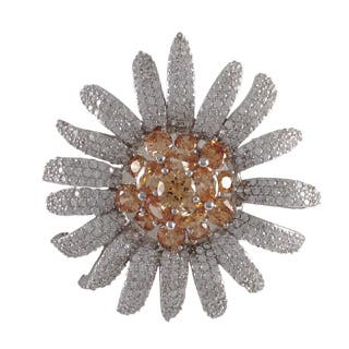 Luxiro Sterling Silver Champagne Cubic Zirconia Flower Pin Brooch|https://ak1.ostkcdn.com/images/products/P18383775p.jpg?impolicy=medium