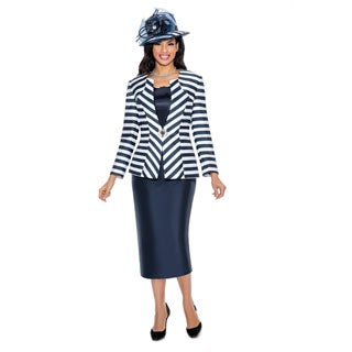 Giovanna Collection Women's 3-piece Stripe Skirt Suit