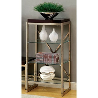 Furniture of America Jacie Contemporary Gold 3-shelf Pier Cabinet