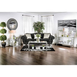 Furniture Of America Mishie Contemporary 3 Piece Glass Top Accent Table Set
