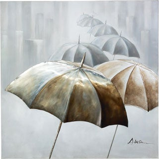 Dancing Umbrellas in the Rain with 3D Effects Canvas Artwork