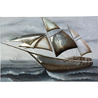 Sailboat Sailing in the Wind Sailboat Canvas Artwork with 3D Effects