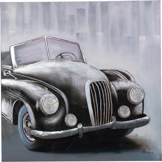 A Classic Car in Shades of Grey and Black with 3D Effects Canvas Artwork