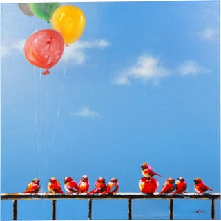 The Perfect Day Colorful Birds Sitting on a Banister with Balloons Whimsical Canvas Artwork