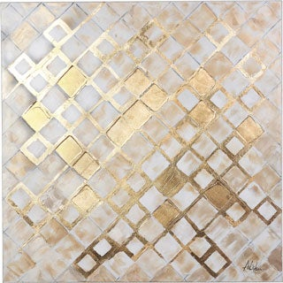 Mind Enhancing Squares of Gold and Silver Abstract Canvas Artwork
