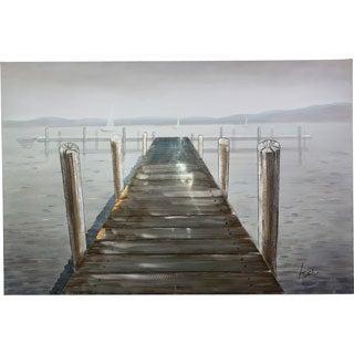Y-Decor 40 x 59-inch 'Peaceful Pier' Stretching Out Over the Water Original 3D Canvas Artwork