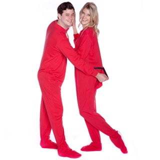 Red Cotton Jersey Knit Unisex Onesie Adult Footed Pajamas with Drop Seat