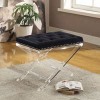 Silver Orchid Heston Velvet Bench with Acrylic Legs