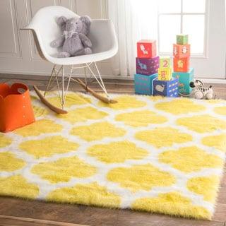 nuLOOM Cozy Soft and Plush Faux Sheepskin Tellis Shag Kids Nursery Yellow Rug (5' Square)