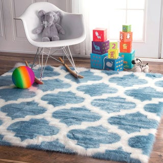 nuLOOM Cozy Soft and Plush Faux Sheepskin Tellis Shag Kids Nursery Blue Rug (5' Square)