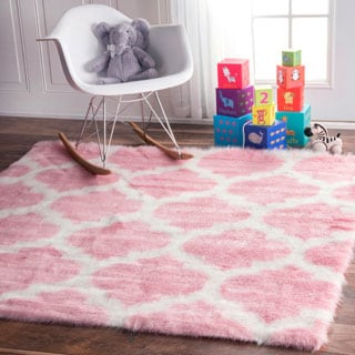 nuLOOM Cozy Soft and Plush Faux Sheepskin Tellis Shag Kids Nursery Pink Rug (5' Square)