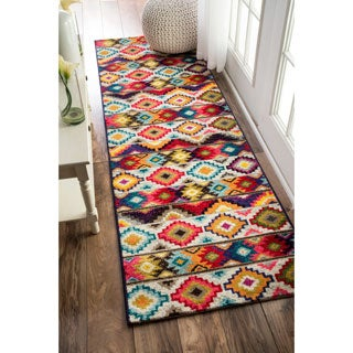 nuLOOM Retro Tribal Diamonds Multi Runner Rug (2'5x8')