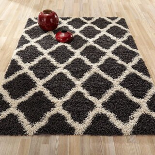 Sweet Home Cozy Shag Collection Trellis Design Shaggy Area Rug (3'3 x 4'7)