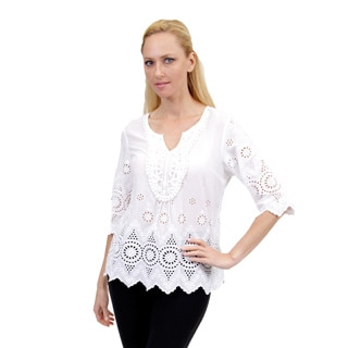 La Cera Women's 3/4 Sleeve Eyelet Lace Top