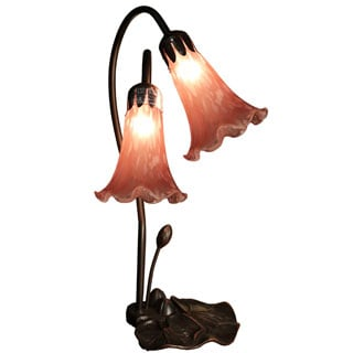 Elaine 2-light Pink Glass 17-inch Lily Tiffany-style Table Lamp