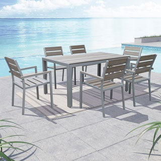 CorLiving Gallant Sun Bleached Grey 7-piece Outdoor Dining Set