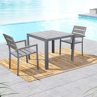 CorLiving Gallant Sun Bleached Grey 3-piece Outdoor Dining Set