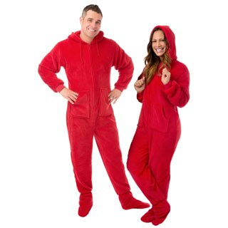 Red Plush Hoodie Footed One-piece Unisex Pajamas with Drop Seat by Big Feet Pajamas
