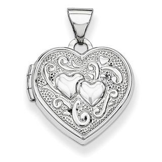 Versil 14k White Gold Heart Locket