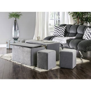 Furniture of America Cole Contemporary 4-Piece Nesting Bench and Ottoman Set
