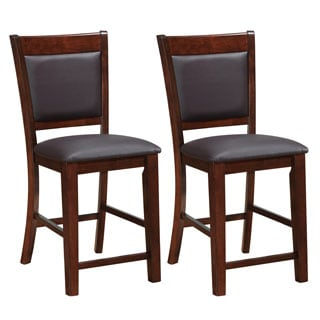 CorLiving Chocolate Brown Bonded Leather Counter Height Stools Set of 2